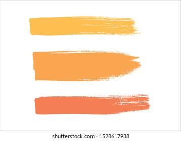 set yellow brush stroke paint background vector design