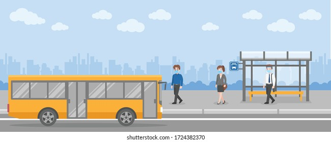 Set of yellow city bus with front side and back view with bus stop station isolated vector illustration. Flat style concept of public transport.