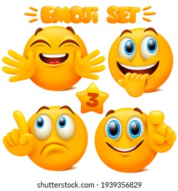 Set of yellow emoji icons Emoticon cartoon character with different facial expressions in 3d style isolated in white background. Vector illustration
