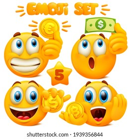 Set of yellow emoji icons Emoticon cartoon character with different facial expressions in 3d style isolated in white background. Dollar, Eoro and bitcoin coins Vector illustration
