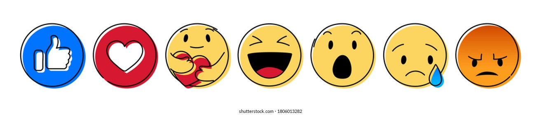 Set of Yellow Emoticon and Emoji Smiles, hand drawn art design vector illustration