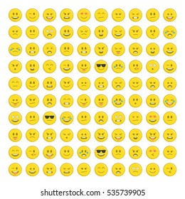 Set of yellow emoticons, icon pack, emoji isolated on white background. Abstract funny flat style smiles Set. Emoticon for web.