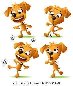 Set yellow funny dog playing soccer ball. Isolated on white vector illustration