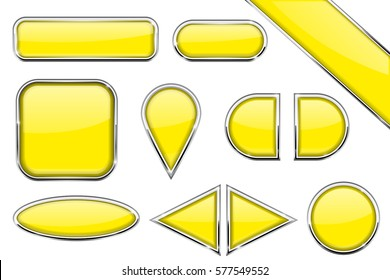 Set of yellow glass buttons with metal frame. Vector 3d illustration isolated on white background.