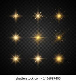 Set of yellow  glowing light explodes on a transparent background Sparkling magical dust particles. Star burst with sparkles. Gold glitter Bright Star. Transparent shining sun, bright flash Vector