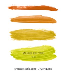 Set of yellow, goldenrod, chartreuse, mustard vector watercolor hand painted gradient stripes isolated on white background. Acrylic dry brush stains, strokes, geometric horizontal lines. Fluid art.
