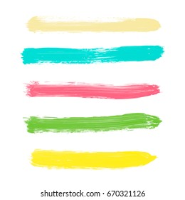 Set of yellow, green, turquoise, pink pastel powder color vector watercolor hand painted stripes, isolated white background. Collection of acrylic dry brush stains, strokes, geometric horizontal lines