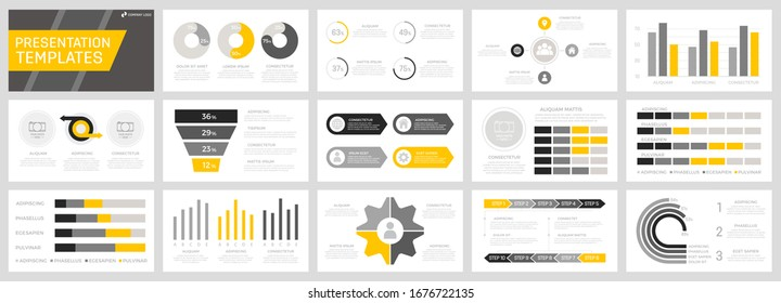 Set of yellow, grey and black elements for multipurpose presentation template slides with graphs and charts.