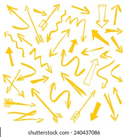Set of yellow hand-drawn arrows on a white background. Vector outline illustration.