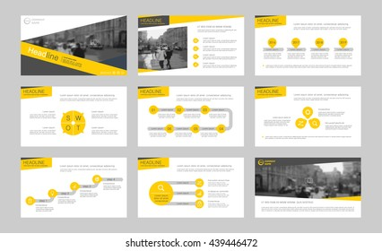 Set of yellow infographic elements for presentation templates. Leaflet, Annual report, book cover design. Brochure, layout, Flyer template design.