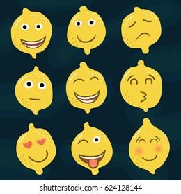 Set of yellow lemons icons, emotions, smileys.