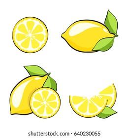 Set yellow lemons in pop art retro comic style, stock vector. Fresh lemon fruits, collection of illustrations eps 10