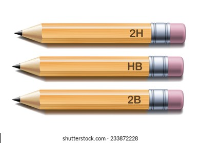 Set of yellow pencils isolated on white background. Vector illustration