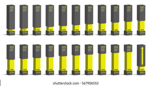 Set of yellow percentage charts for infographics, 0 5 10 15 20 25 30 35 40 45 50 55 60 65 70 75 80 85 90 95 100 percent. Vector illustration.