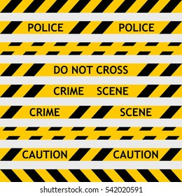 set yellow police tape enclosing for forensics and yellow tape with black diagonal stripes for fencing off the crime scene, the investigation leads CSI do not cross, vector seamless
