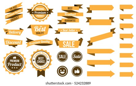 set of yellow ribbons , badges and labels. flat design concept. branding and sale decoration. vector illustration. isolated on white background.
