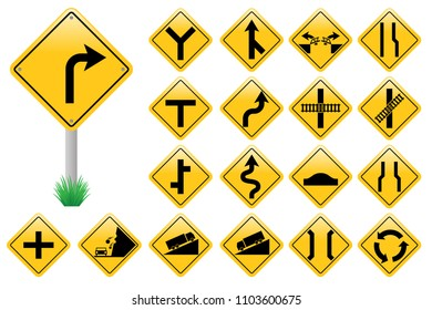 Set yellow road sign, traffic signs isolated on white background, vector illustration