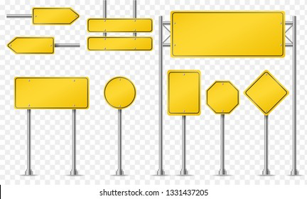 Set of yellow road signs isolated on transparent background. Vector illustration