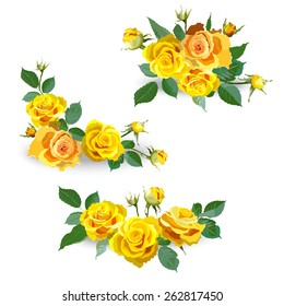 Set of yellow roses. Garland of flowers. Floral background. Design element. Vector illustration