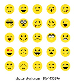 Set of yellow round emoticons or emoji illustration icons. Smile icons vector illustration isolated on white background. Concept for World Smile Day card or banner
