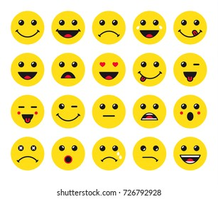 Set of yellow round emoticons or emoji illustration icons. Smile icons vector illustration isolated on white background. Concept for World Smile Day smiling card or banner