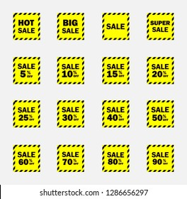 Set of yellow sale icon banners in different shapes. shop product tags. 5% 10% 15% 20% 25% 30% 40% 50% 60% 70% 80% 90% off discount sticker vector.