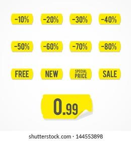 Set: yellow sale labels