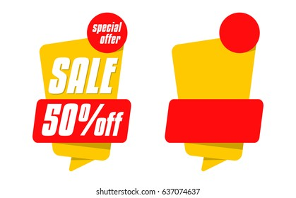 Set of yellow sale tags isolated on background. 50% off, half price, special offer. Sale banner design. Vector
