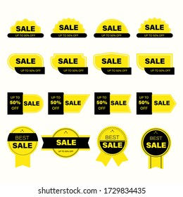 Set of yellow sales label. Banner discount design for marketing and advertisement.