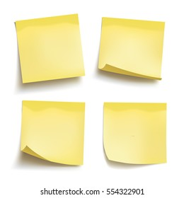 Set of yellow sheets of note papers. Four sticky notes. Vector illustration