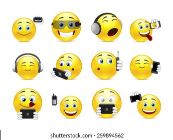 Set of yellow smiles with different gadgets