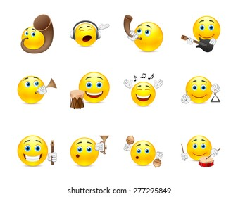 Set of yellow smiles that play on different types of musical instruments