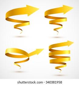 Set of yellow spiral arrows 3D.