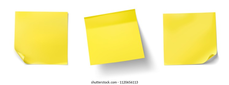 Set of yellow stick paper notes on white background. Vector illustration. Can be use for your design, presentation, promo, adv. EPS10.