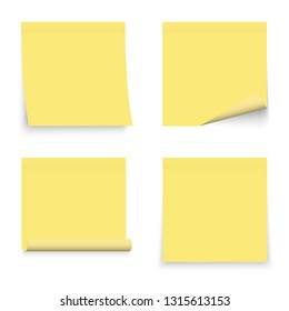 Set of yellow stickers papers. Note paper with curled corner. Vector isolated on white background.