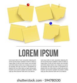 Set of yellow sticky notes. Paper. Vector with place for your text.