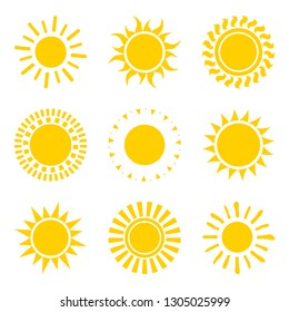 Set of yellow sun icon symbols isolated