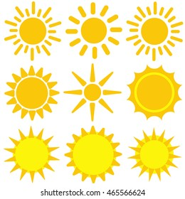 Set of yellow sun icons. Vector illustration. Isolated vectors.