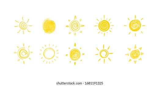 Set of yellow suns in Flat design isolated on a white background. Set of funny icons sun doodle. Modern simple flat sunlight sign. Vector illustration, EPS 10.