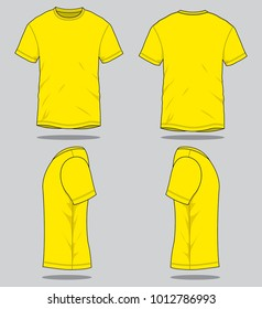 Set Yellow T Shirt Vector Template FrontBack And Side Views