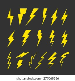 Set of Yellow Thunderbolt Symbols. Vector Danger Signs. Electrical Power Silhouettes Icons. Zig Zag Logo Elements.