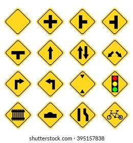 Set of yellow transportation sign