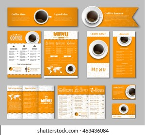 Set of yellow-white corporate identity of the banner, menus, flyers, folding brochures and gift card. Template with hand drawings in the background and a cup of black coffee, top view. MOCKUP