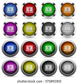Set of Yen laptop glossy web buttons. Arranged layer structure.