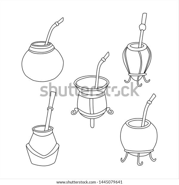 Set Yerba Mate Tea Calabash Bombilla Stock Vector Royalty