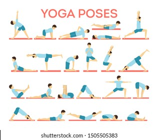 Set of yoga asana or exercise. Physical and mental health. Body relaxation and meditation. Body balance training. Isolated vector illustration in cartoon style