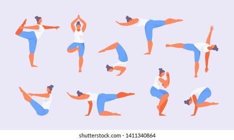 Set of yoga asanas balance. Woman character practicing yoga. Vector illustration