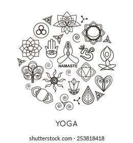 Set yoga background. Vector illustration.