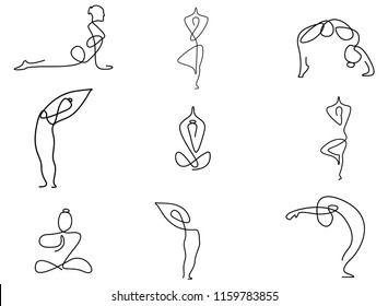 set of yoga, continuous line drawing of women fitness yoga concept vector health illustration