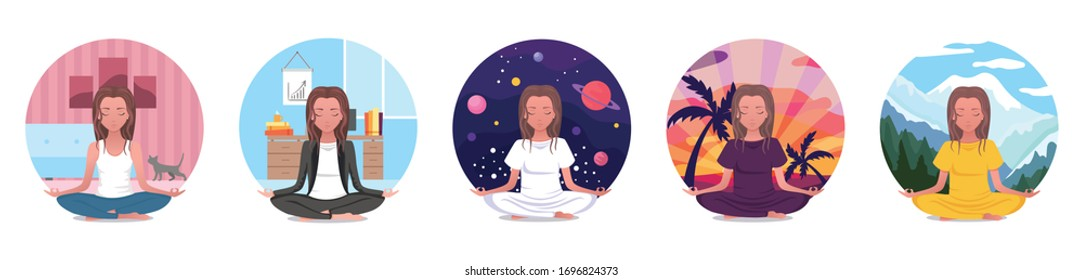 Set for yoga at home, practice online yoga in the room, enjoying meditation, icons with a girl in lotus pose relaxing with her pet cat. Online courses. Vector flat cartoon colorful illustration